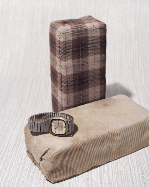 cloth covered bricks and watch